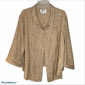 Flax Linen Button Up 3/4 Sleeve Top Sz 1G (20-22)